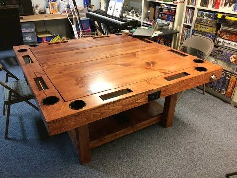 Build a Gaming Table for $150! | BoardGameGeek    https://boardgamegeek.com/thread/1471747/build-gaming-table-150   don't need the bottle opener or TV stuff. But it does need to have metal boxes for the electrical...