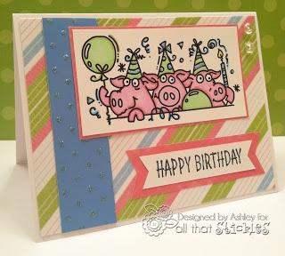 Baby Blue stickles on Piggy card