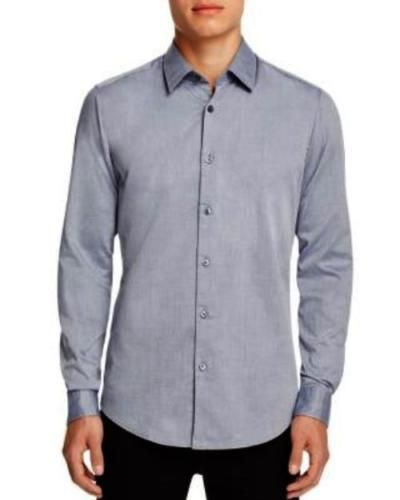 1bc00bb4 Hugo Boss Mens Lukas Shirt Micro Blue Sz Large | Hugo Boss Men's ...
