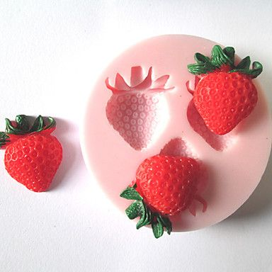 Three Holes Strawberry Fruit Silicone Mold Fondant Molds Sugar Craft Tools Chocolate Mould  For Cakes – USD $ 1.99
