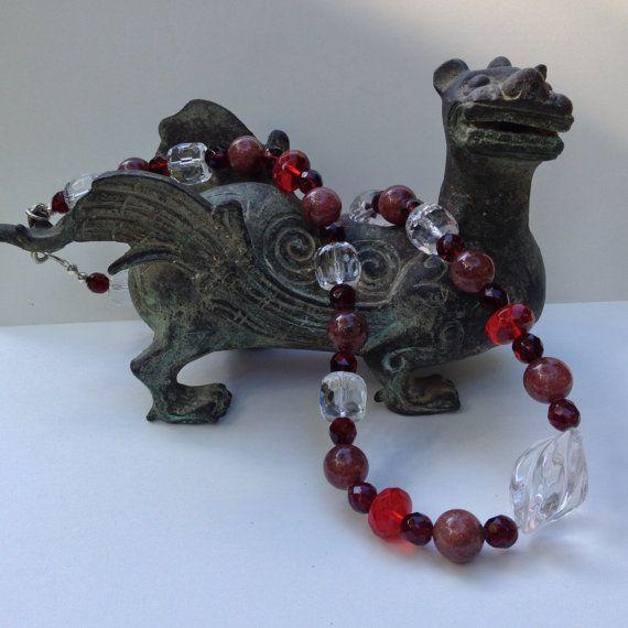 Semi-Precious Stone Necklace  Spiral Quartz by BluePearEmporium