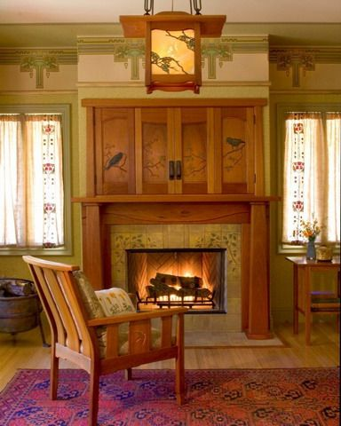 35 best craftsman fireplaces images on pinterest for Craftsman fireplace pictures