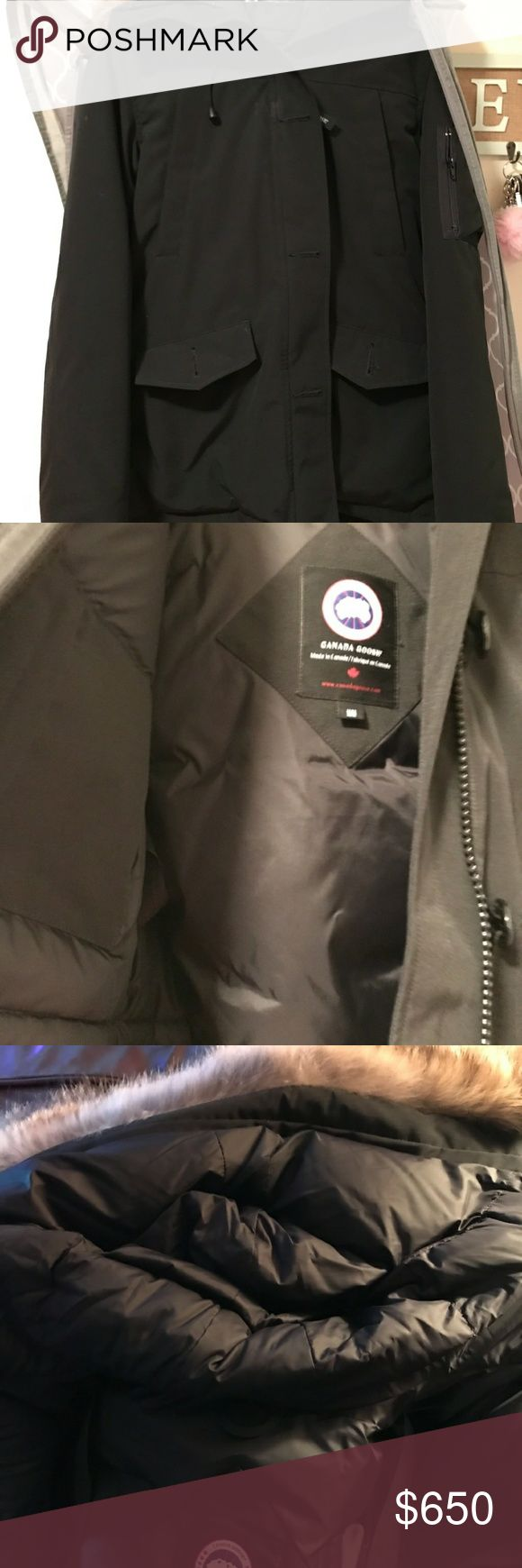 Gently used Canadian Goose down coat Medium, black with coyote trimmed fur hood, removable as well Canada Goose Jackets & Coats Puffers