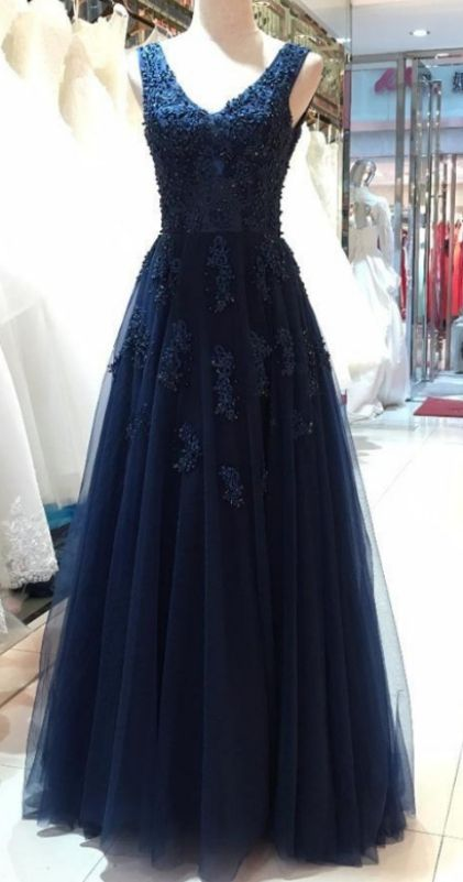 85dbad6b831b Floor length Prom Dresses, Navy Blue Floor-length Prom Dresses,  Floor-length Long Prom Dresses, V-neck Navy Blue Lace Tulle Beading Long  Backless Prom ...