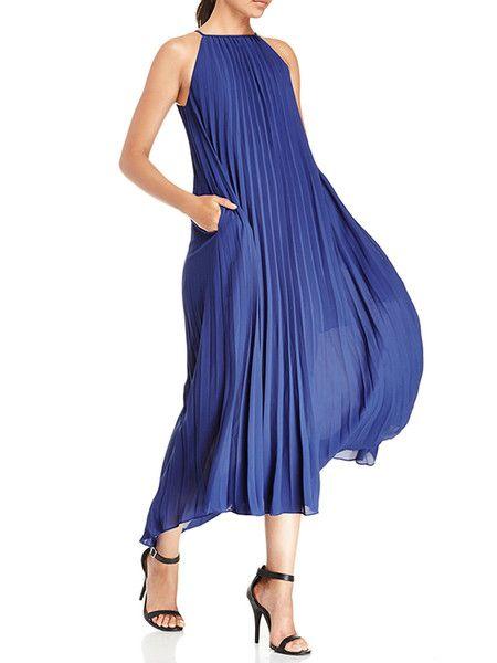 Blue Pleated Chiffon Midi Dress