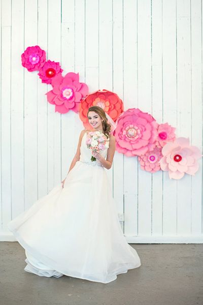Want something a little more subtle? A simple cascade of paper flowers is all you need.