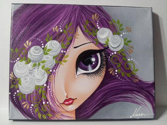 Etsy listing at https://www.etsy.com/listing/263648018/purple-hair-big-eye-girl-original-canvas
