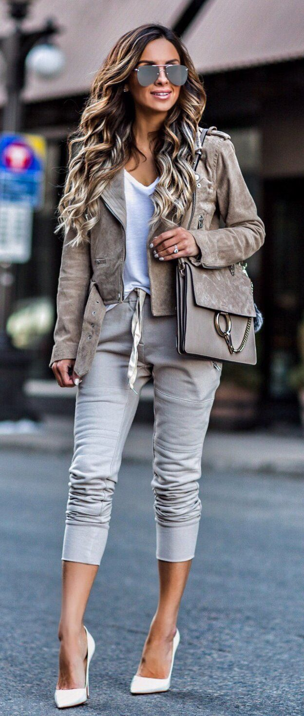 #spring #outfits  Grey Suede Jacket & White Top & Grey Cropped Jeans & White Pumps