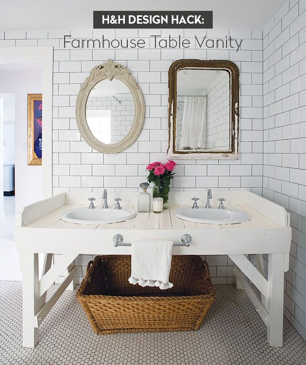 Want a bathroom vanity with a ton of surface area that doesn't look heavy? Aussie designer and blogger Anna Spiro of Absolutely Beautiful Things converted an old wooden table into a vanity that's big enough to accommodate double sinks and a towel rack. A surround keeps items secure and the open storage underneath looks airy.