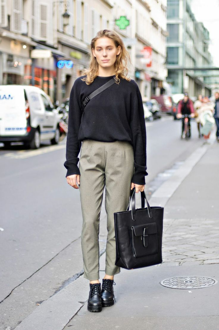 Professional trousers get weekend-ized with a fitted sweatshirt and ankle booties. | PHOTOGRAPHED BY BRANDIE RAASCH. |