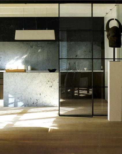 Vincent Van Duysen | Marble kitchen island + walls with wooden floor