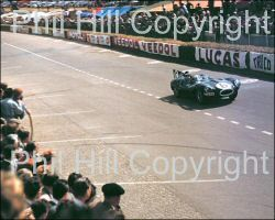 1955 Le Mans/Hawthorn/Jaguar D-Type taken June 11/12, 1955. Phil Hill took the photo and says: I took this shot early in the race and my guess is that Mike Hawthorn