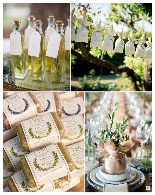 decoration mariage provence cadeaux d'invites bouteille d'huile d'olive savon de marseille arbuste olivier