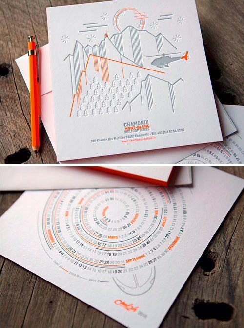 Cartes de voeux Chamonix Mont-Blanc Hélicoptères 3 couleurs et débossage à sec // CMBH 2016 new year cards leterpress printed in 3 colors and blind deboss