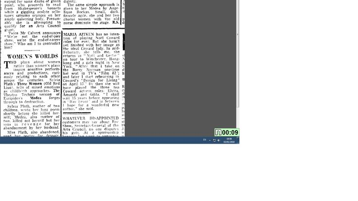 Screenshot of Sunday Telegraph`s review of Medea `Womens` Worlds` by Rosemary Say taken from Telegraph Microfiche Archive