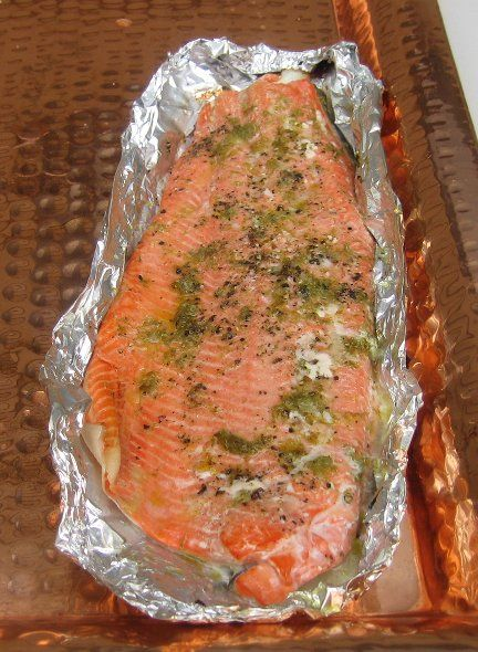 Quick smoked salmon  Changes: 1 lemon, 1.5tbs olive oil, and basil instead. NO finishing lemon OR salt. All other ingredients as listed on recipe. Brine:  2 1/2tbs salt for each cup of water. 4 cups of water in big blue bowl. Did 2 bowls.