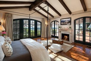 Craftsman Master Bedroom with Saro Zsa Zsa Moroccan Design Beaded Throw Pillow, French doors, Marvin Arched French Doors