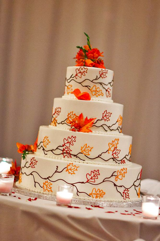 24 Fall Wedding Cakes That WOW ❤ See more: http://www.weddingforward.com/fall-wedding-cakes/ #weddings #cakes