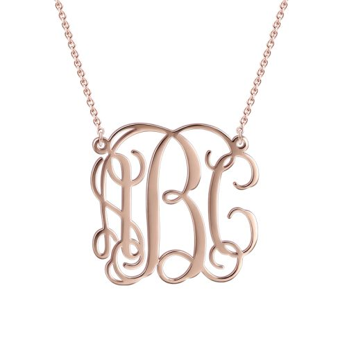 Small Personalised Monogram Necklace - Rose Gold (H: 2.0 cm) - Monogram Necklaces - Personalised