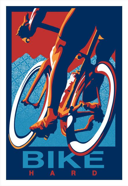 Retro Cycling Print Illustration Poster: Ride Hard 11X17