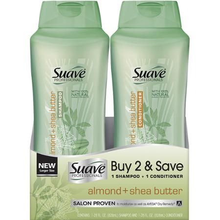 Suave Professionals Almond + Shea Butter Shampoo & Conditioner, 28 fl oz, Pack of 2