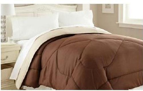 Reversible Solid Color Comforter, Brown Reversing to Tan, Full/Queen Size