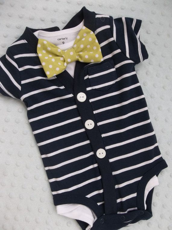Cardigan Bowtie  Onesie Limeade Bowtie Navy Cardigan for a Preppy Baby Boy