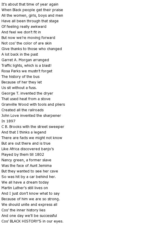 black people and poem Poem for black saturday icon for recommended story  contributed by:  billericay library people in story: len smith location of story: east london.