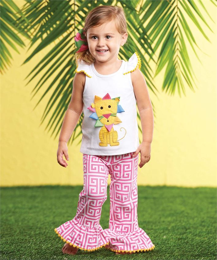 2-piece set includes cotton top with ruffle cap sleeves and colorful lion applique. Coordinating Greek key patterned flare hem pants have pom-pom trim. #mudpiegift