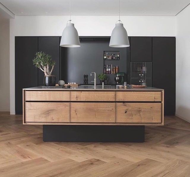 Herringbone floor and floating kitchen island