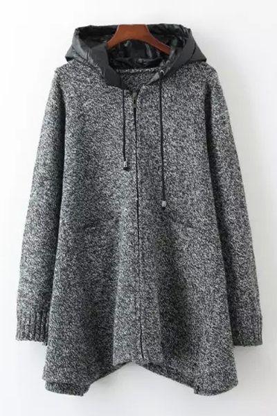 Gray Hooded Long Sleeve Cardigan