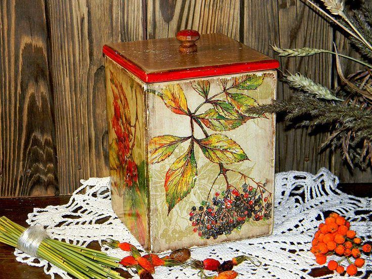 "Купить Короб с крышкой ""Дары осени"" - короб, коробочка, короб для хранения, коробка, короб для специй"
