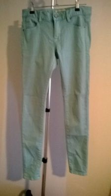 Size 9 'Just Jeans' Pastel Green 'Supa Skinny' Style Low Rise Pants