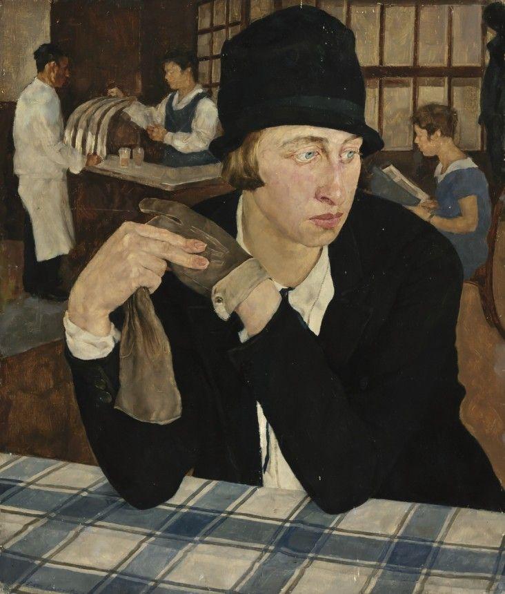 """Lotte Laserstein, 1927, Öl auf Holz, 54 x 46 cm, Privatbesitz. – Ausstellung """"Wien Berlin"""" - Eminent - oder einfach dufte - Kultur - Süddeutsche.de"""