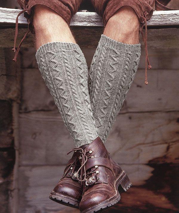 Ooooo...  Free pattern from Regia: Man's Knee-Length Socks