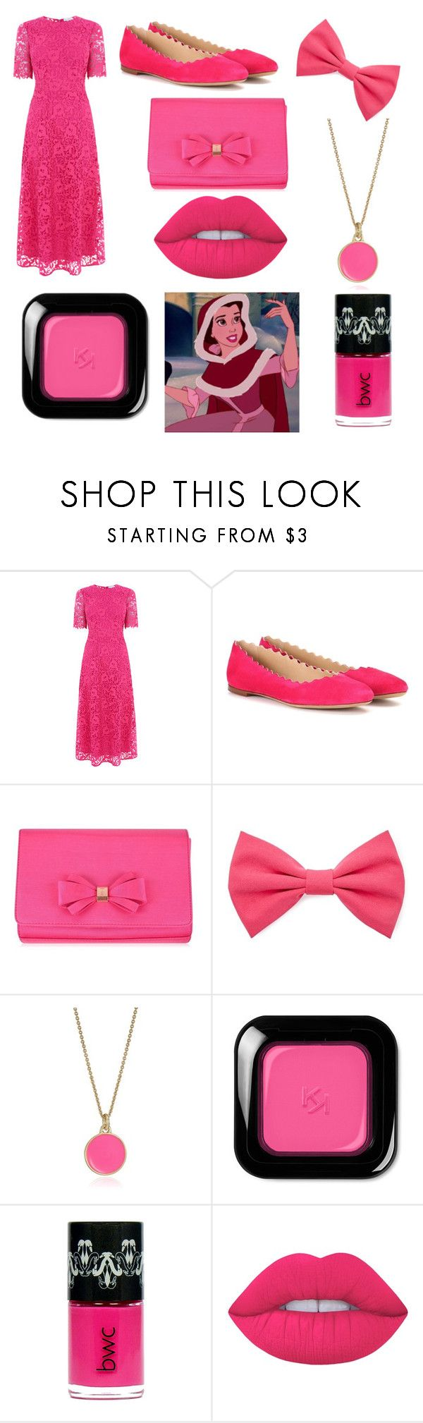 """Belle's pink dress"" by belleandbeast ❤ liked on Polyvore featuring Warehouse, Chloé, Ted Baker, Forever 21, Kate Spade and Lime Crime"