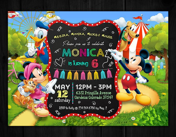 Mickey Mouse Invitation, Mickey Mouse Birthday Invitation, Mickey Mouse Clubhouse Birthday Invitations, Meeska Mooska