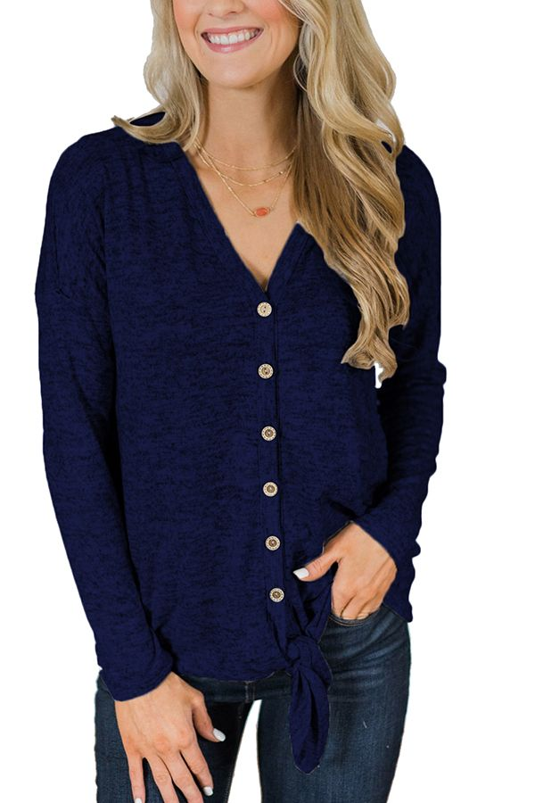 7f692c51 V Neck Long Sleeve Button Down Tie Front Loose T-Shirt Navy Blue ...