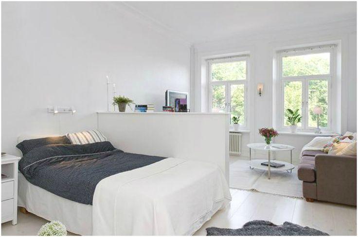 Перегородка в интерьере спальни-гостиной