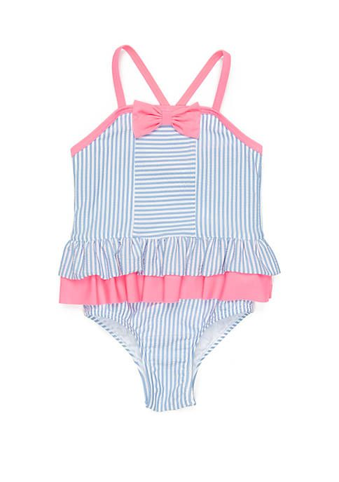 a5d47a7781 Crown & Ivy™ Girls 4-6x Seersucker One Piece Swimsuit | Little girl ...