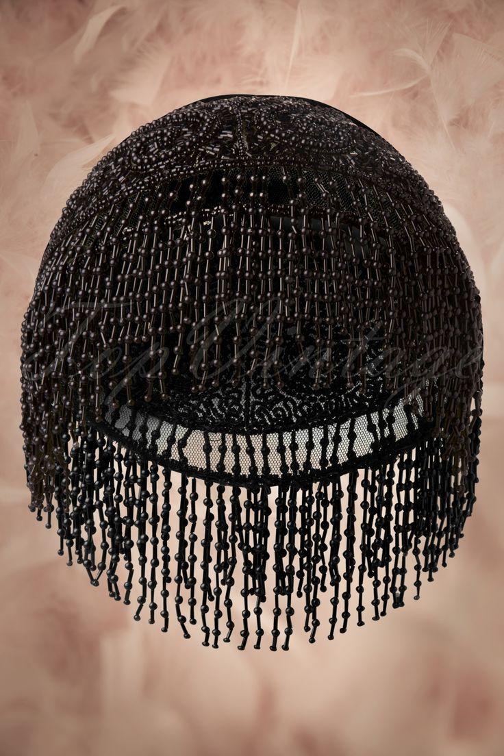 Unique Vintage - 20s Flapper Hat in Black