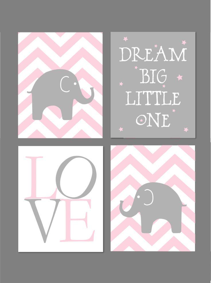Pink and Grey Nursery Elephant Nursery Dream by fairplayprintables