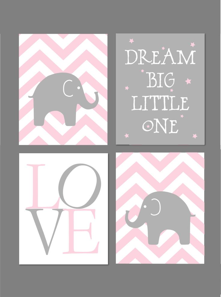 Pink and Grey Nursery Elephant Nursery Dream by fairplayprintables