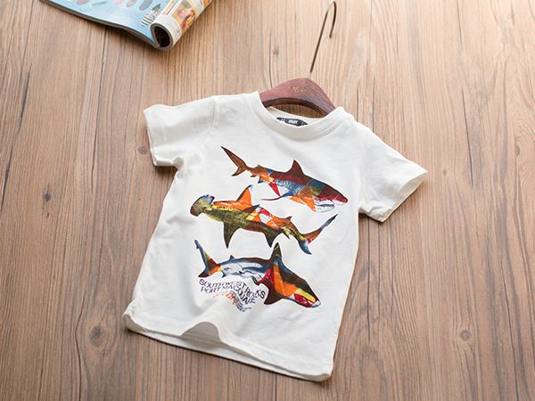 Лето новых мальчиков хлопка с коротким рукавом футболки 3 цвета простой дикий торговли экспорта - Taobao