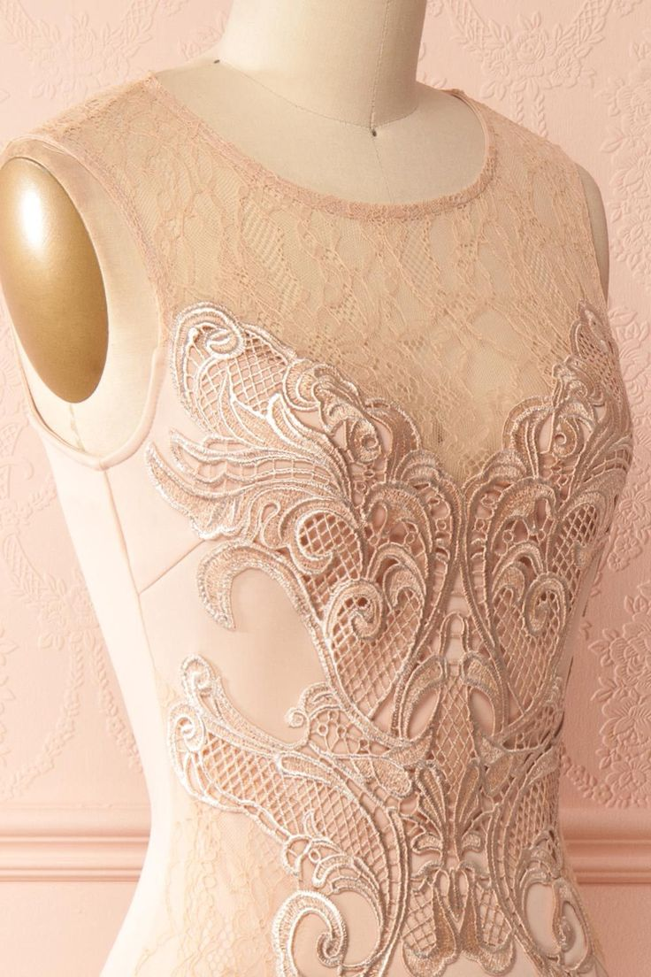 Siofra Nude Maxi Dress with Lace Collar & Appliqués | Boutique 1861