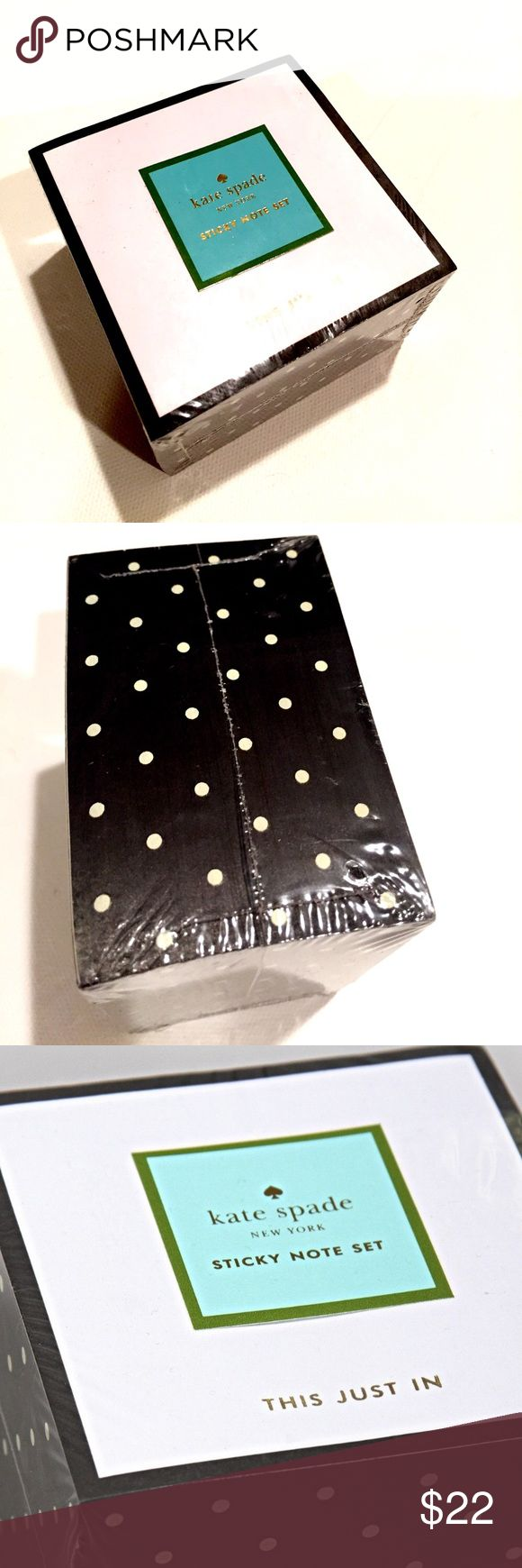 """Get Organised! NWT Kate♠️This Just In Sticky Notes Ivory dots on black create this sticky notes block from Kate Spade New York. Embellished with gold foil, the message """"This Just In"""" is printed on each sticky note sheet. Size: 3 in. x 3 in. (7.6 cm x 7.6 cm) Process: Gold foil Page Count: 570 pp. kate spade Accessories"""
