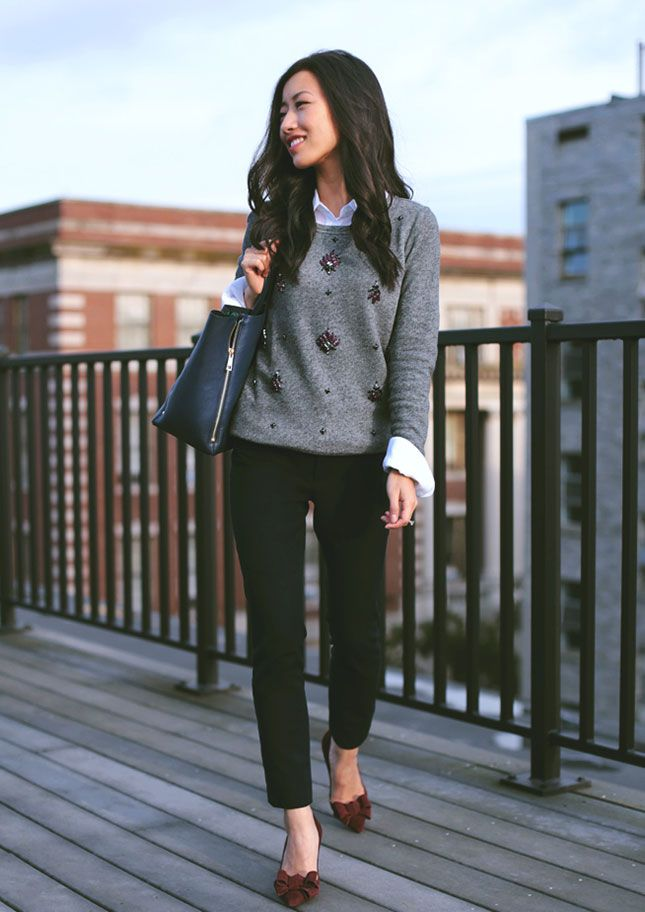 black & gray cheetah print sweater, black jeans, courts - cute and comfy!