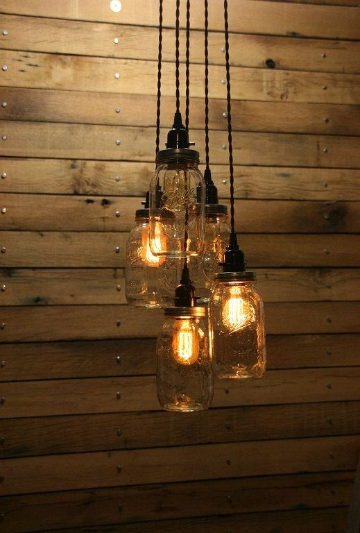 5 pot suspension mason jar lustre clair 3 39 hang down quart mason jar suspendu suspension. Black Bedroom Furniture Sets. Home Design Ideas