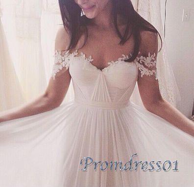 Ball gowns wedding dress, 2016 beautiful white lace chiffon long prom dress