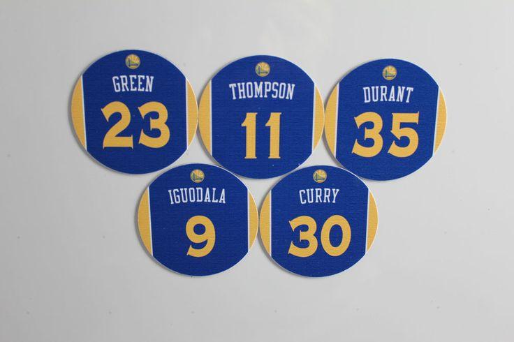 Golden State Warriors Jersey Magnets set: Curry Thompson Durant Green Iguodala $10 #GoldenStateWarriors #nba